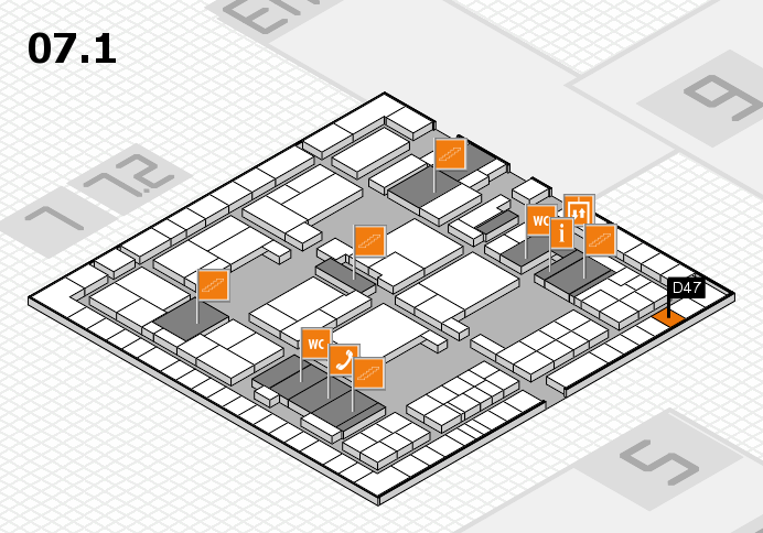 interpack 2017 hall map (Hall 7, level 1): stand D47