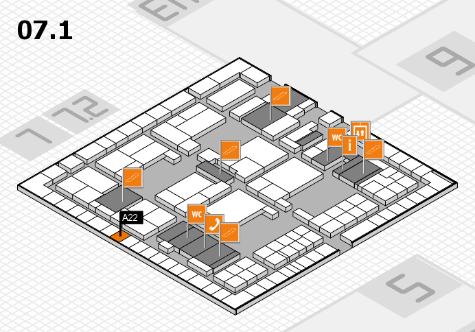 interpack 2017 hall map (Hall 7, level 1): stand A22