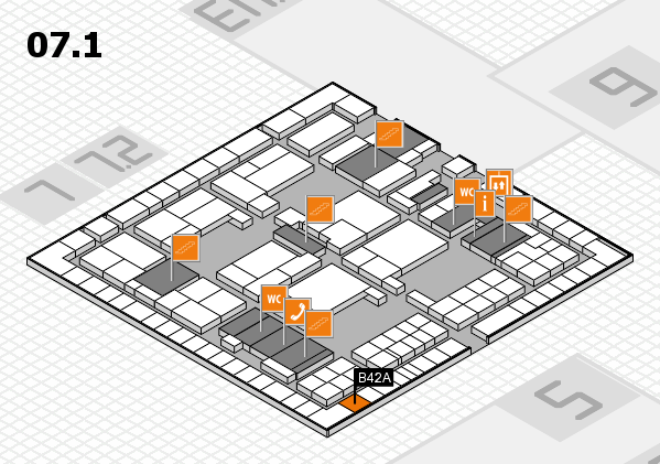 interpack 2017 hall map (Hall 7, level 1): stand B42A