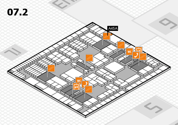 interpack 2017 hall map (Hall 7, level 2): stand A45A