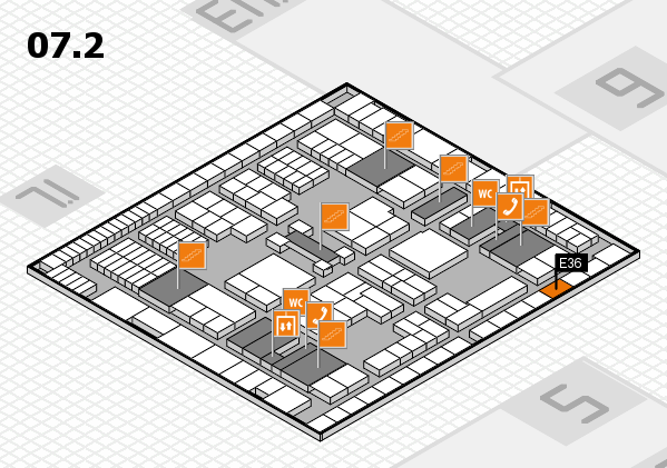 interpack 2017 hall map (Hall 7, level 2): stand E36