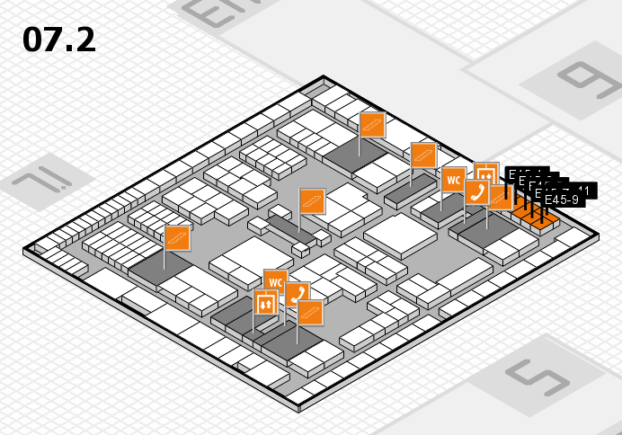 interpack 2017 hall map (Hall 7, level 2): stand E45-1, stand E45-9