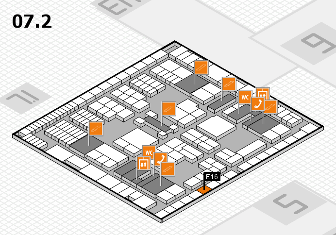 interpack 2017 hall map (Hall 7, level 2): stand E16
