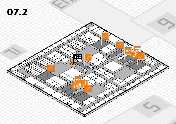 interpack 2017 hall map (Hall 7, level 2): stand B22