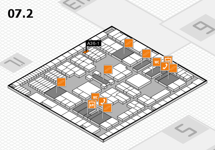 interpack 2017 hall map (Hall 7, level 2): stand A36-1