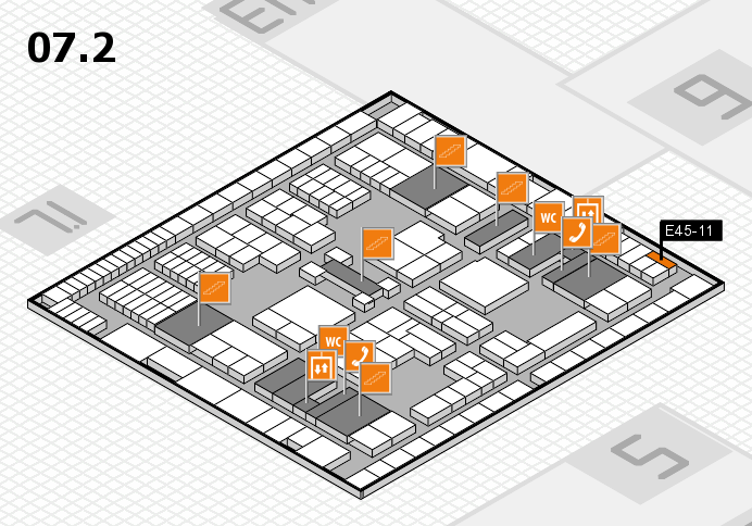 interpack 2017 hall map (Hall 7, level 2): stand E45-11