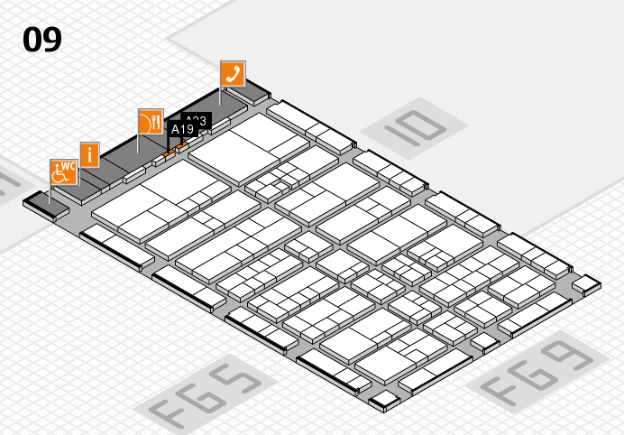 interpack 2017 Hallenplan (Halle 9): Stand A19, Stand A23
