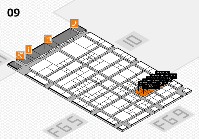 interpack 2017 hall map (Hall 9): stand C32-12, stand G32-9
