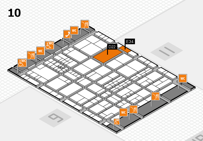 interpack 2017 hall map (Hall 10): stand D22, stand E34