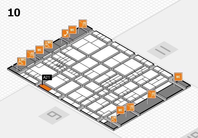 interpack 2017 Hallenplan (Halle 10): Stand A21