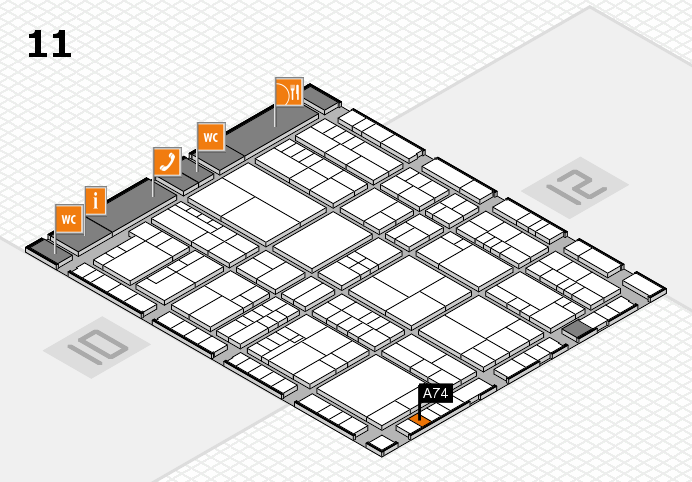interpack 2017 Hallenplan (Halle 11): Stand A74