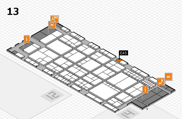 interpack 2017 Hallenplan (Halle 13): Stand E45