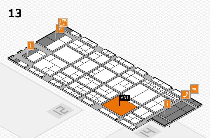 interpack 2017 Hallenplan (Halle 13): Stand A31