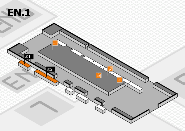 interpack 2017 hall map (North Entrance 1): stand .01, stand .02