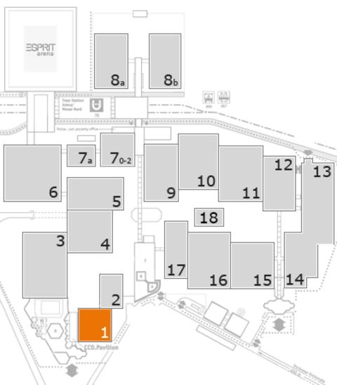 interpack 2017 Geländeplan: Halle 1